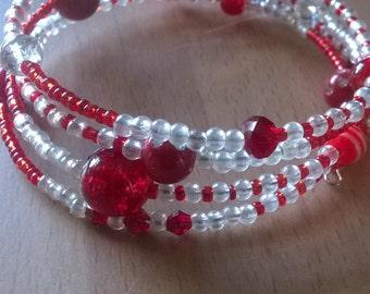 memory wire bracelet, red sparkly beaded bracelet