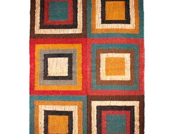 Concentric Magic Squares Multicolour Kilim - Small, rugs kilims, handwoven, jute wool, home decor, colorful, Christmas gift, handicraft