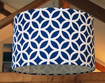 Geometric Blue, 40cm diameter Drum Lampshade