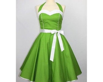 Prom Gown dress rockabilly 50s green white