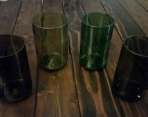 Sale!! Set of 4 Wine Bottle Drinking Glasses / Tumblers. Upcycled Drinking Glass. 14-16 oz