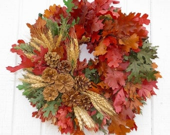 Fall Wreath, Fall Dried Flower Wreath, Oak Leaf Wreath, Dried Floral Wreath, Fall Dried Floral Wreath, Wreath