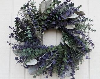 Eucalyptus Wreath, Preserved Eucalyptus Wreath, Lilac and Sage Eucalyptus Wreath, Dried Eucalyptus Wreath, Spring Eucalyptus  Wreath
