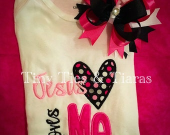 Jesus loves me onesie pink with matching hair bow