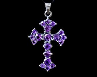 Purple Amethyst cross,Victorian cross,Black Silver cross,Handmade cross,Large silver amethyst cross,Cross necklace,Sterling Silver cross