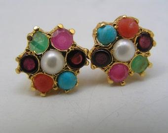Gemstones Flower Cluster Earrings .