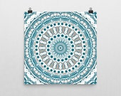 Blue and Gray Abstract Wall Art. Ocean Inspired Mandala Art Print. Mediterranean Blue and White Abstract Beach Art