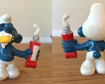 Vintage Smurfs - Smurf brushing teeth