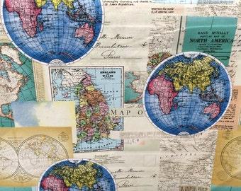 Globes World Map fabric, novelty fabric, world, map, globe, countries, cotton fabric