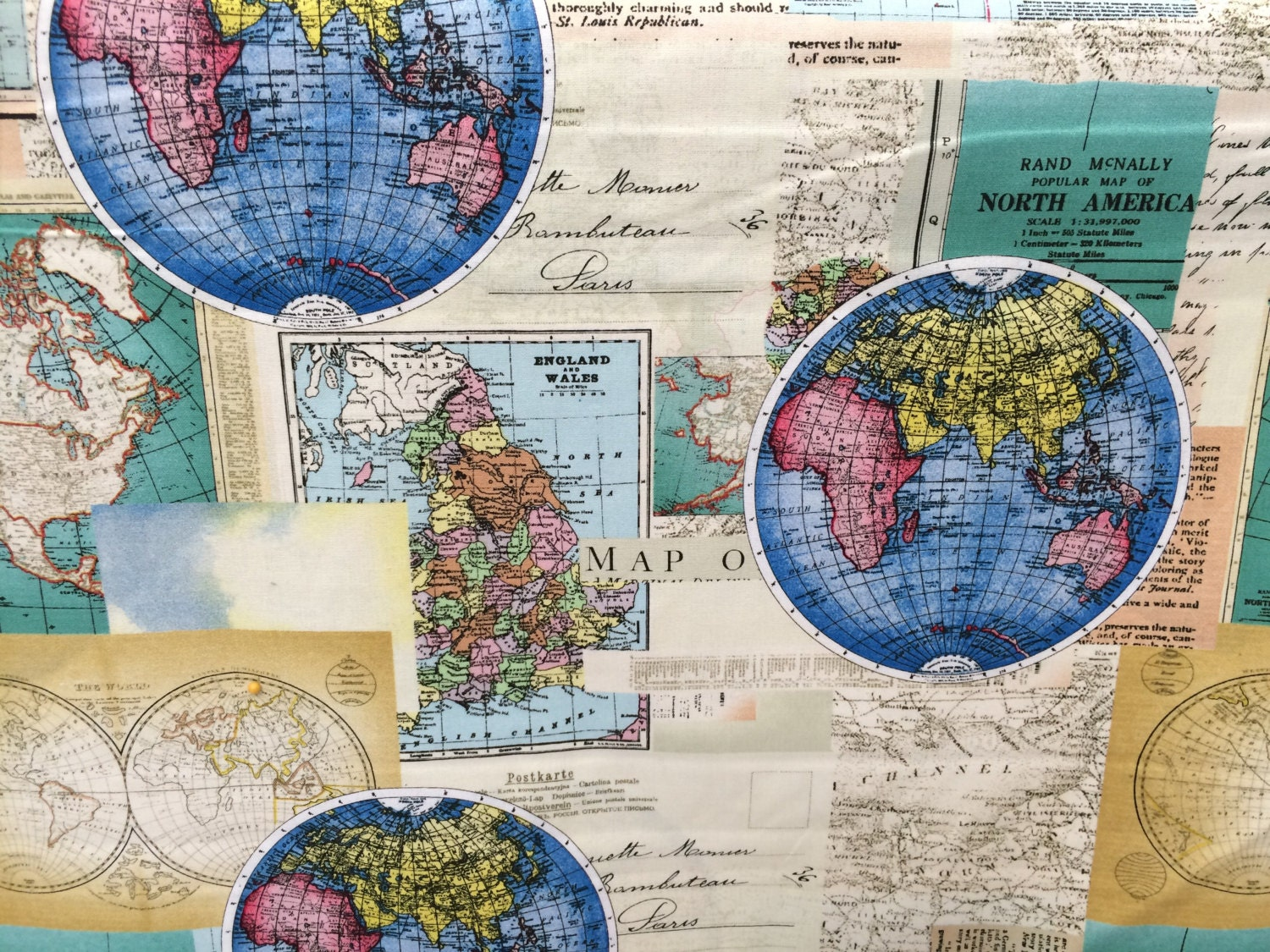 Globes world map fabric novelty fabric world map globe for Cloth world fabrics
