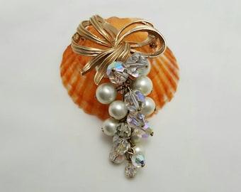 Crystal And Pearl Pin
