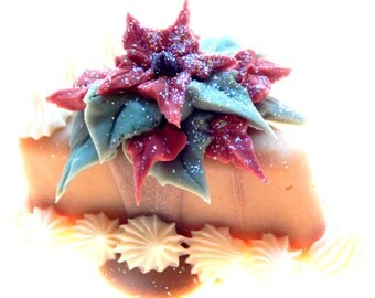 Holiday Cake Slice Handmade Artisan Soap Poinsettia Christmas Soap Decorative Soap Gift Specialty Soap Rice Pudding