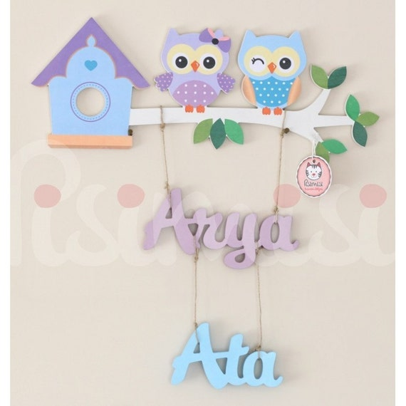 Personalised Kids Childrens Baby Sibling Room Door / Wall Hanging Name Plaque Sign - Lilac & Blue Owl Design