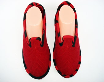 Red Womens Slippers, Wool House Slippers, Leather Slippers, Ladies Slippers, Warm Slippers, Slippers for women, House Shoes, Soft Soles