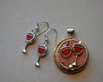 Wine charm earrings and wine charms on wine cork necklace set