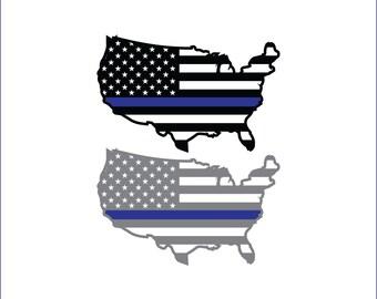USA blue line flag, American flag decal, unique digital download, svg, dxf, eps, ai, png, thin blue line, police, law enforcement svg file