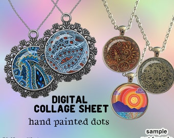 "Hand painting Digital Collage Sheet Circle Images for Glass Dome Bottle Caps cabochon clipart Magnets Digital Printables for Pendants 1.5""1"""