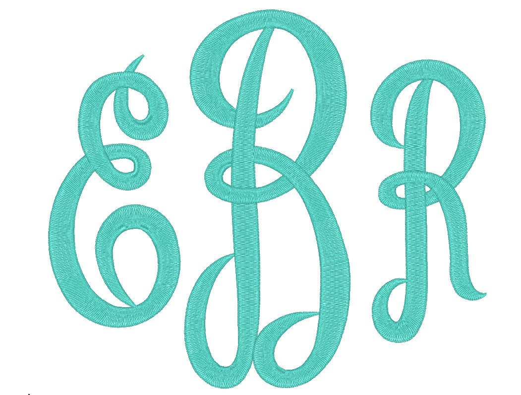 3 Size Jumbo Empire Monogram 3 Letters Embroidery Font BX