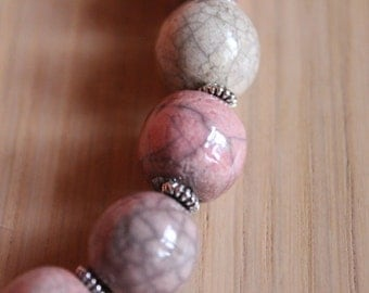 Pink crew-neck in  raku ceramic