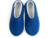 Men's Felted Wool Slippers, Eco friendly house shoes Blue with Organic Natural White Merino on the inside.  warm gift for men