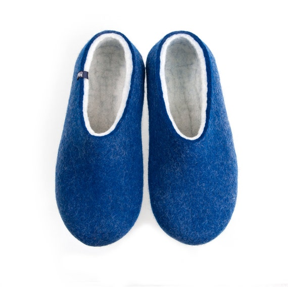 Eco Friendly Slippers: Men's Felted Wool Slippers Eco Friendly House Shoes Blue