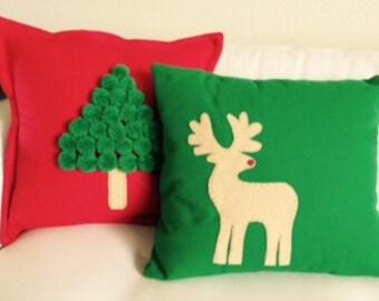 Christmas Pillows - set of reindeer and christmas tree pillow