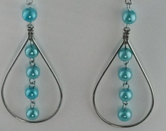 blue and silver perls and long