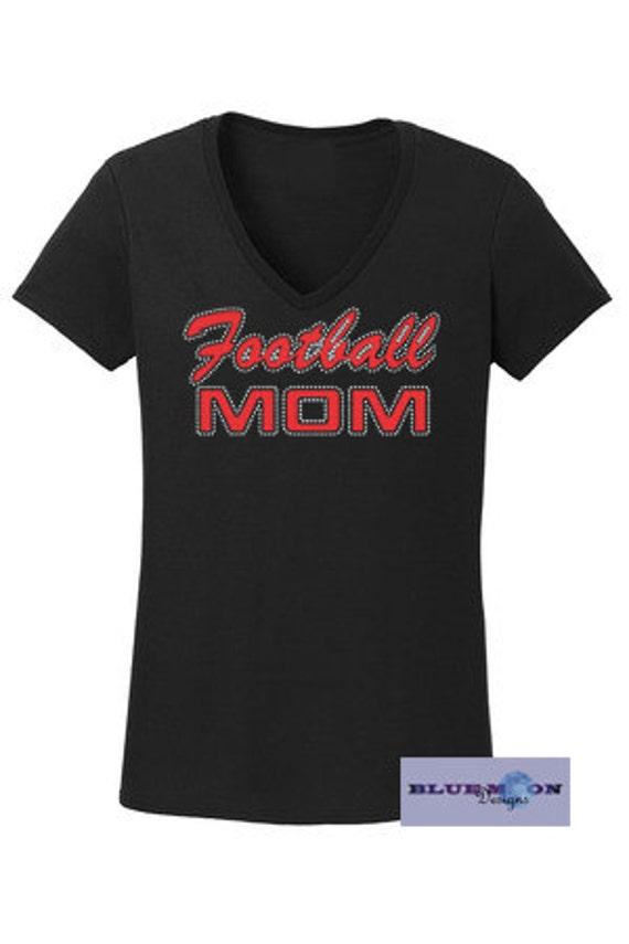 Football Mom Rhinestone with Vinyl T-Shirt Made to order