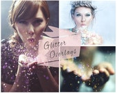 Blowing Glitter Photoshop Overlays, Glitter Effect Overlays, Digital Backdrop,  Blowing Glitter, Instant Download