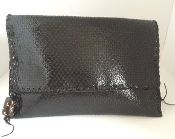 Leather Large Black  Glossy Purse Clutch