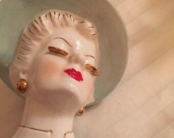 Porcelain lady head vase