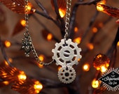Long, copper, owl and gears necklace! Handmade and one of a kind!