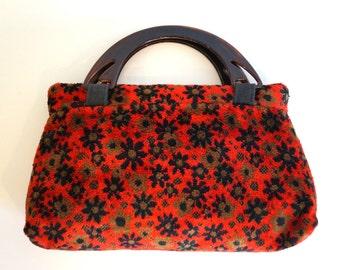 Tapestry bag with plastic handles Vintage Floral Print red velvet handbag, Purse Top handles bag Red handbag A minimalistic and functional