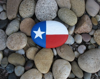 Texas Flag Painted on Rock