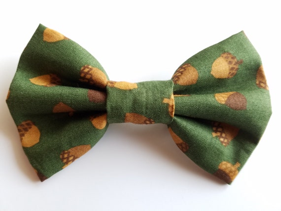 Acorn Bow Tie for Cat or Small Dog Collars, Matching Velcro Collar, 100% Sales Goes to Feeding Feral Cats