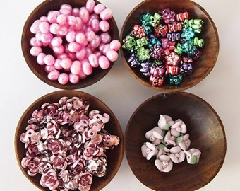 Pearls and Flowers Bead Mix Destash Pink Pearl Strand Flower Mix Purple Green Approximately 180 Beads