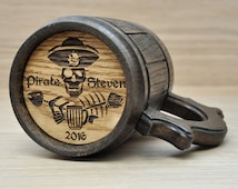 Pirate party gift, Wooden Mug, Pirate Beer Mugs, Saylor Gifts Idea, Kids Pirate Party favor, Personalized Gift, Pirates Inspired, Skull