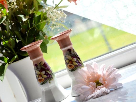 Ceramic vintage, hand painted, pair of candlestick holders, wonderful table decoration, wedding gift, dressing table candle stick holders