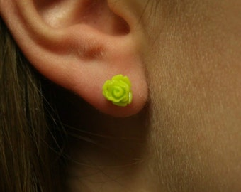 Neon green rose earrings