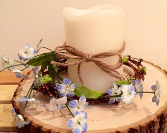 Candle wreath, candle ring, blue flower wreath