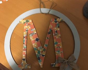 Monogram simple and pretty door wreath