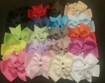 Set of 20 Boutique Ribbon Hair Bows, Pinwheel Hair Bows,  Baby Bows, Toddler Bows, Big Girls Bows, 20 Hair Bows, 4 inch Bows, Hair Bows