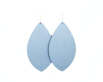 Leather earrings, statement earrings, blue earrings, leather jewelry