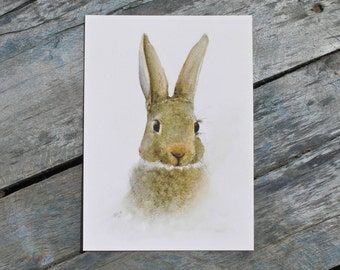 Bunny print, watercolor bunny painting, nursery animal art print, animal prints for nursery, kids room wall art, Easter bunny art, 5x7, E2