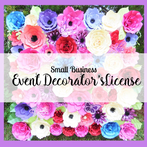 Event Decorators License- Giant Paper Flower Backdrop Templates and Tutorials- Weddings, Baby showers, Birthday Parties- OFFLINE event use