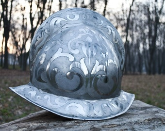 Morion helmet, 16GA stainless steel etched