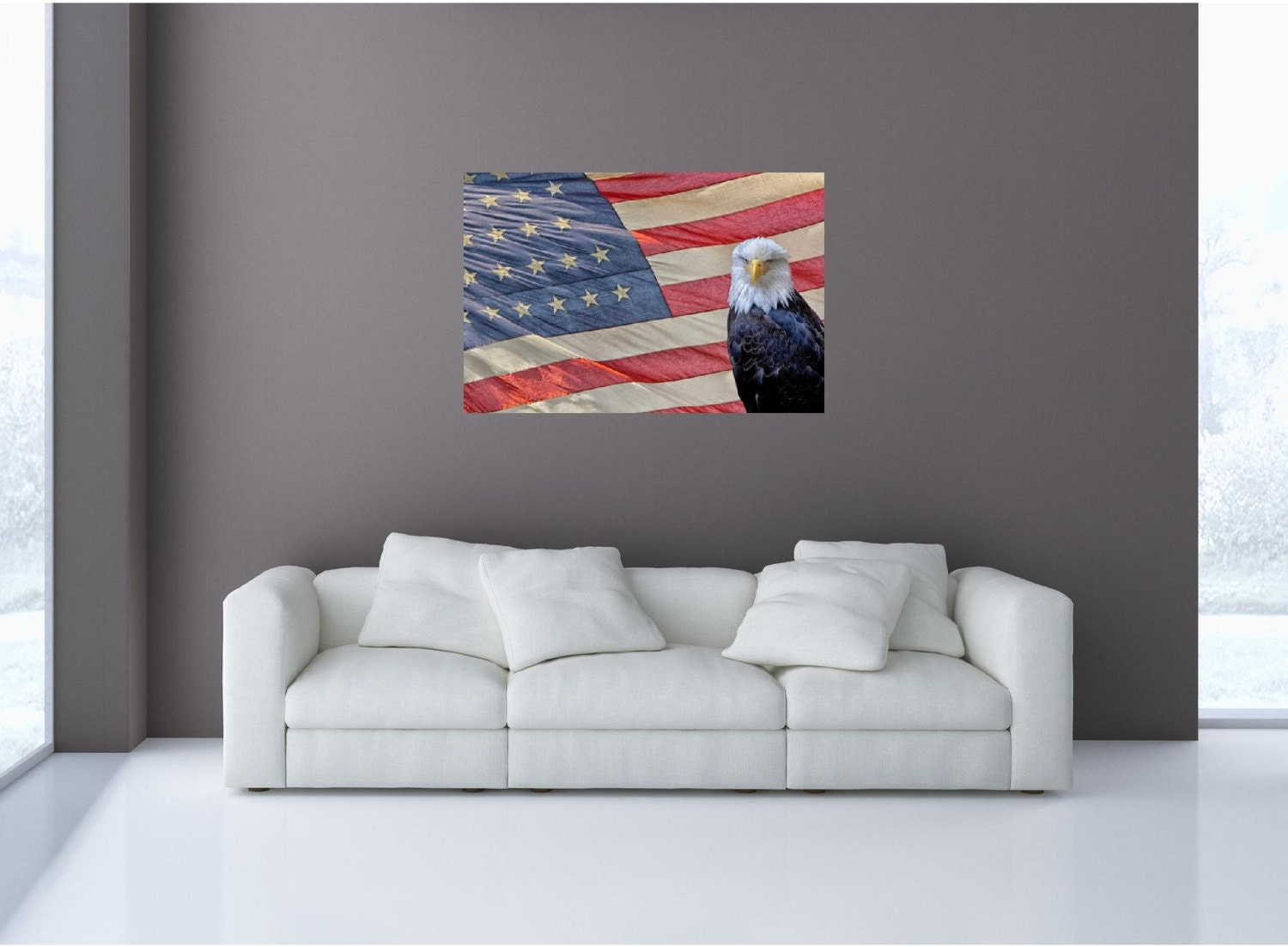 Mini mural eagle on us flag wall graphic vinyl sticker decal for American flag wall mural