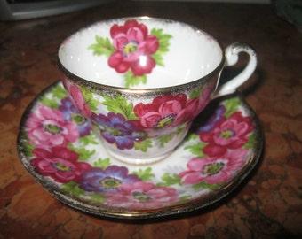 Beautiful Royal Stafford England Carmen Pattern Floral Cup & Saucer Set! #RH