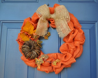 """Puffy Burlap Fall Wreath (14"""")"""