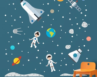 Space Wall Decal, Space Decal, Space Wall Sticker, Space Astronaut Decal, Space Shuttle Decal, Spaceboy Decal, Outer Space Decal